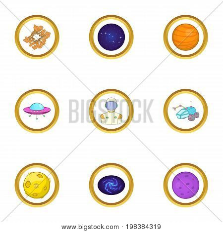 Space exploration icons set. Cartoon set of 9 space exploration vector icons for web isolated on white background