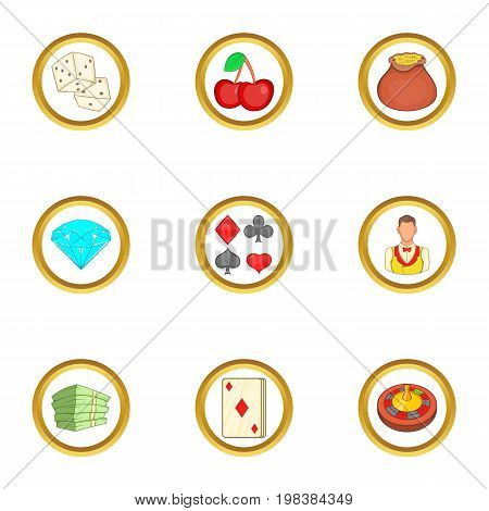 Gambling icons set. Cartoon set of 9 gambling vector icons for web isolated on white background