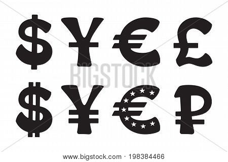 Sign of American dollar, European euro, Japanese yen and Chinese yuan, Russian ruble and British pound. Vector illustration set. Silhouettes signs of world currencies