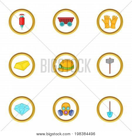 Gold mining icons set. Cartoon set of 9 gold mining vector icons for web isolated on white background