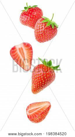 Isolated Falling Strawberries