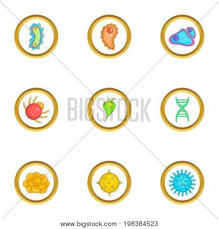 Micro organism icons set. Cartoon set of 9 micro organism vector icons for web isolated on white background