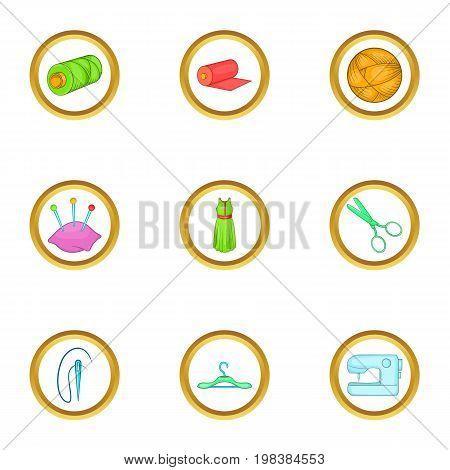Dressmaking icons set. Cartoon set of 9 dressmaking vector icons for web isolated on white background