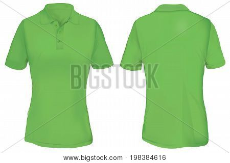 Green Polo Shirt Template for Woman  Isolated on White