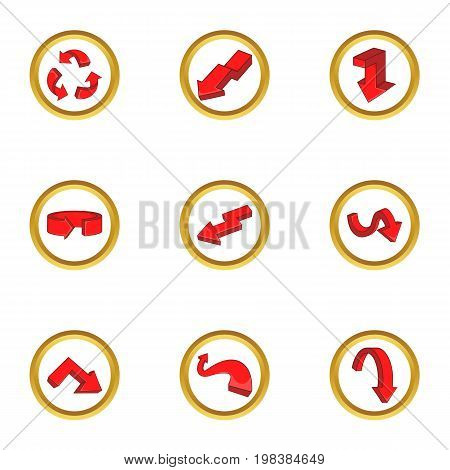 Various arrows icons set. Cartoon set of 9 various arrows vector icons for web isolated on white background