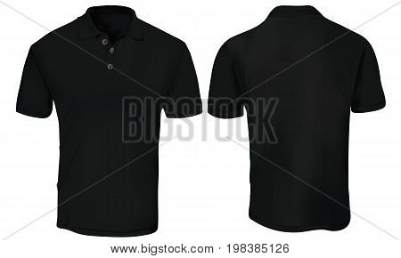 Black Polo Shirt Template Isolated on White
