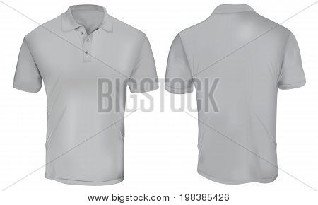 Grey Polo Shirt Template Isolated on White