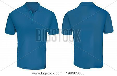 Blue Polo Shirt Template Isolated on White