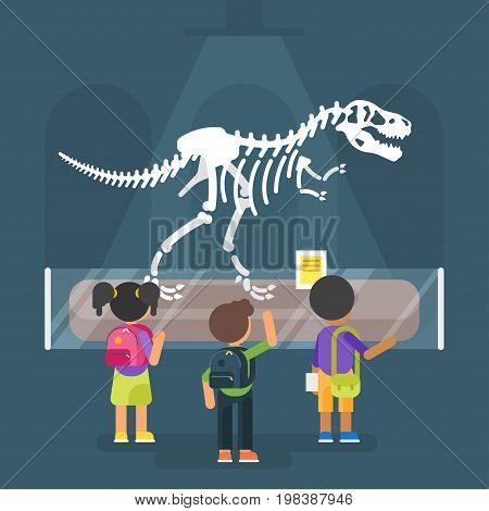 Vector flat style illustration of dinosaur skeleton in museum. Prehistoric predator - Tyrannosaurus Rex. Children are watching on ancient animal.