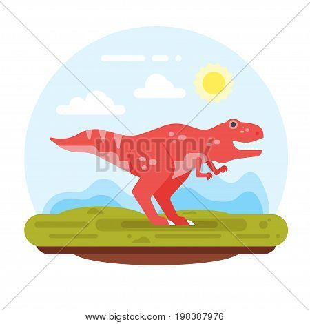 Vector flat style illustration of prehistoric landscape mountains and tyrannosaur. Isolated on white background.