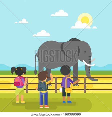 Vector flat style illustration of animals at the zoo. Kids are visiting zoo and looking at the elephant. Good sunny day.