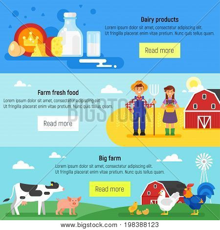 Vector flat style template for web banner. Farm, farmers, farm animals and dairy products.