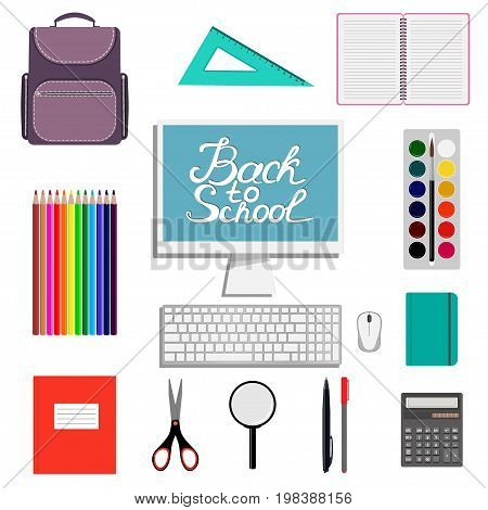 Back to school design. Set of School supplies with Back to school hand drawn lettering. Schoolbag calculator paint watercolor notebook square magnifier computer . Vector illustration