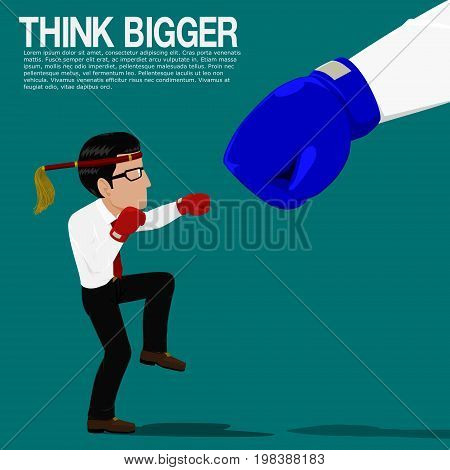 Businessman is fighting with the bigger competitor on blue background