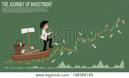 Investor is travelling on the stock chart wave. He's searching for the opportunity of investment