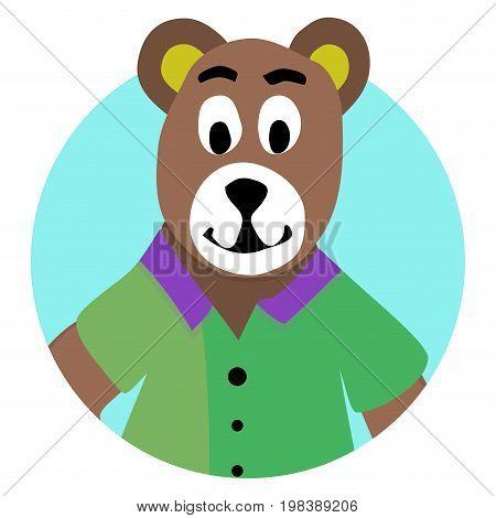 Bear animal icon app. Teddy bear and avatar brown bear vector illustration