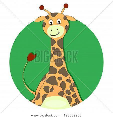 Giraffe cartoon flat icon. Cartoon giraffe app avatar. Vector illustration
