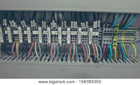 PLC Wires Connecting to Control Panel System