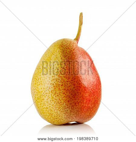 fresh juicy red yellow pear on white background
