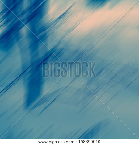 Abstract composition of spots and lines in blue tonality blurred background