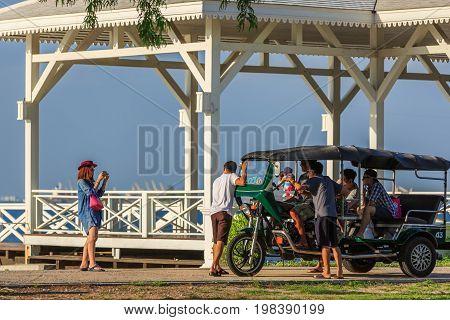 Taking Picture With Tuk-tuk Beside The Asdang Bridge