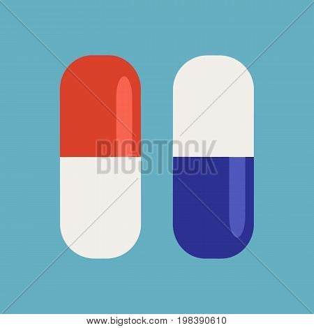 Pills isolated on background. Medicine capsules icon. Vector stock.
