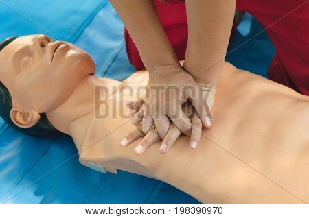 Chest Compression On Cpr Doll, Color Image, Selective Fous, Close Up