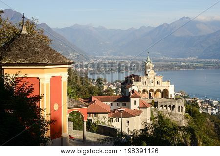 Locarno Switzerland - 19 October 2014: Madonna del Sasso medieval monastery on the rock overlook lake Maggiore Switzerland