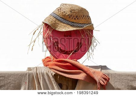 funny scarecrow in the farm on white background