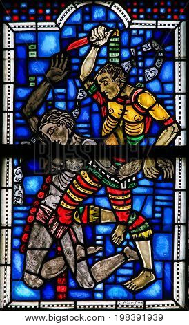 Stained Glass In Worms - Murder Of Abel By Cain