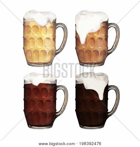Pint of beer set. Four varieties of drink in glass mugs. Hand painted watercolor illustration of alcoholic beverages