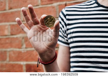 Gold Litecoin In Hand