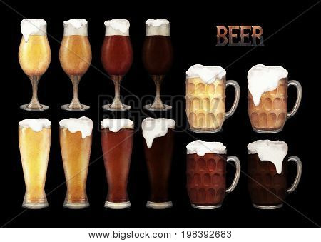 Four varieties of beer in glasses of three different shapes. Hand painted watercolor illustration of alcoholic beverages