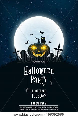 Template for Halloween party. A terrible concept of crosses graves and a glowing pumpkin. Gold dust. Black owl. Full moon. Vertical background. Vector illustration