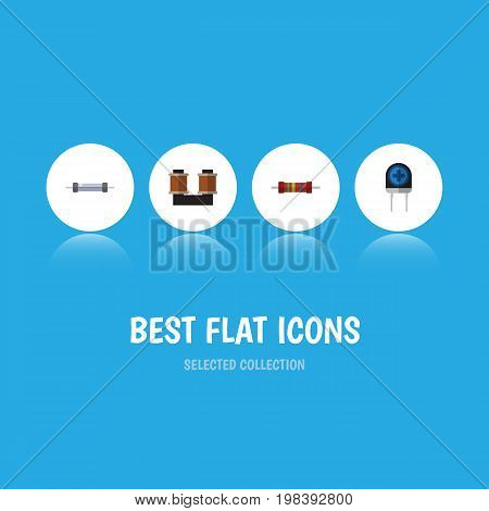 Flat Icon Device Set Of Transducer, Resistance, Coil Copper And Other Vector Objects
