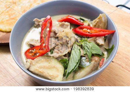 Beef green curry / Cooking green curry concept