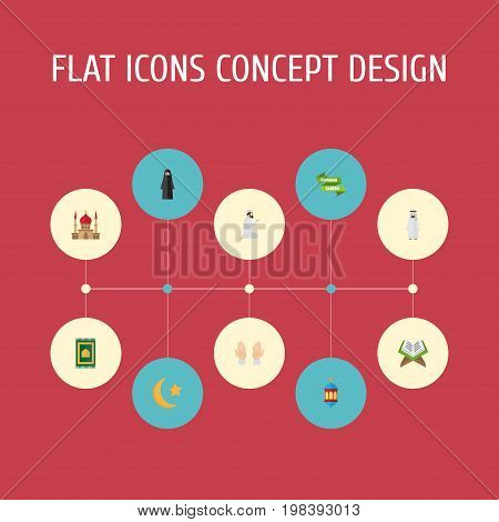 Flat Icons Praying Man, Islamic Lamp, Muslim Woman And Other Vector Elements