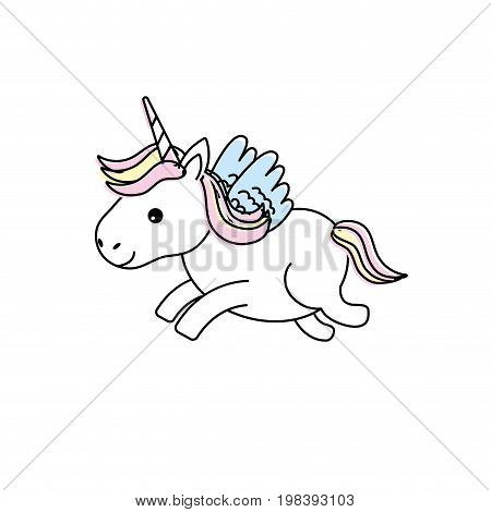 cute unicorn with horn and wings design vecto illustration