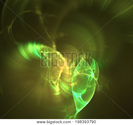 Abstract design made of fractal textures and lights on the subject of design, science and art.
