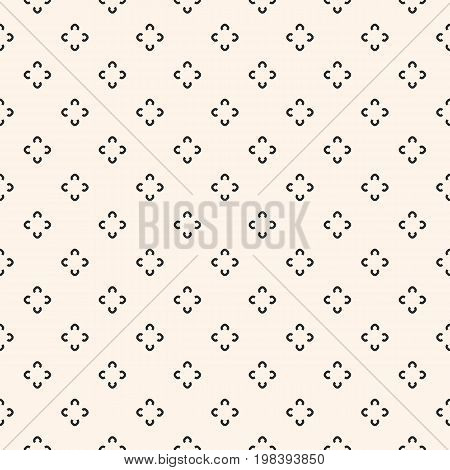 Simple floral pattern. Vector minimalist seamless texture with tiny flower shapes. Abstract minimal geometric monochrome background. Repeat design for prints, textile, decor, fabric, prints, clothing.