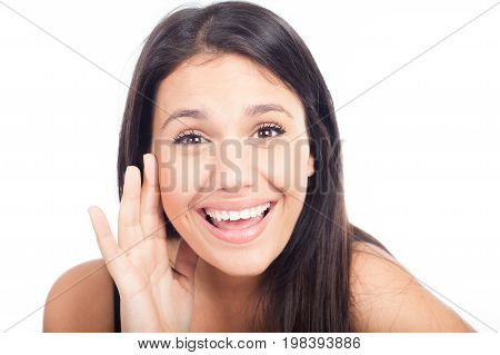Young beautiful woman shouting something. Isolated on white background