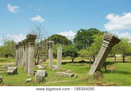 View of the ruins of the Sacred city in Anuradhapura, Sri Lanka.