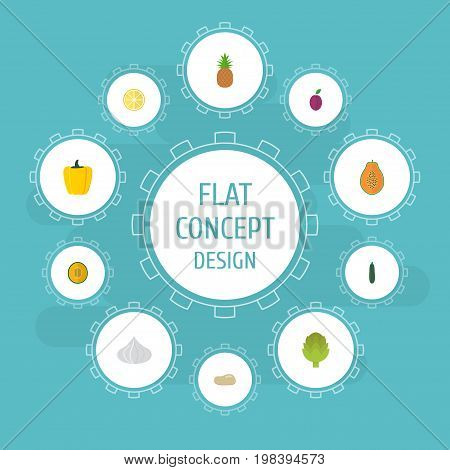 Flat Icons Ananas, Herbaceous Plant, Salad And Other Vector Elements