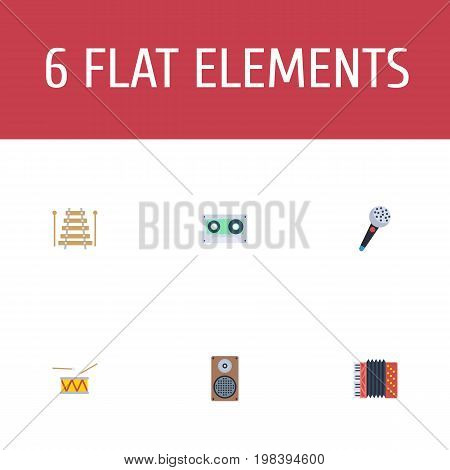 Flat Icons Harmonica, Tambourine, Audio Box And Other Vector Elements