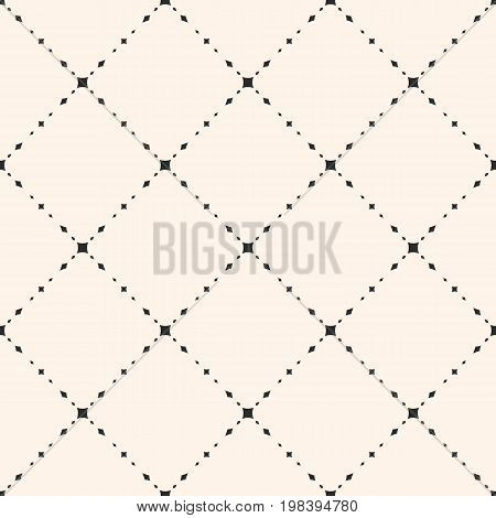 Universal minimalist vector seamless pattern. Subtle geometric texture with small diamond shapes, rhombuses delicate diagonal grid. Modern abstract minimal background, repeat tiles. Simple design.