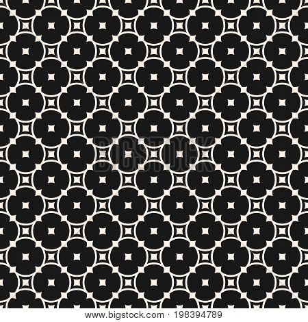 Vector monochrome seamless pattern. Simple elegant geometric texture with rounded lattice, circles, squares. Round mesh texture. Abstract monochrome repeat background. Design for decor, fabric, cloth.