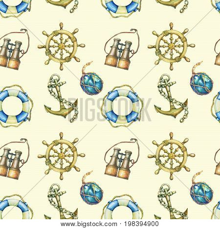 Seamless pattern with nautical elements, isolated on pastel yellow background. Old binocular, lifebuoy, antique sailboat steering wheel, ship anchor. Watercolor hand drawn painting illustration.