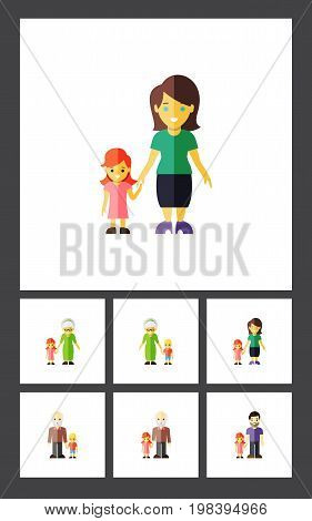 Flat Icon Family Set Of Daugther, Mother, Grandpa Vector Objects