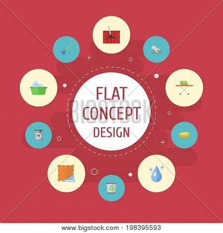 Flat Icons Besom, Washcloth, Housekeeping And Other Vector Elements