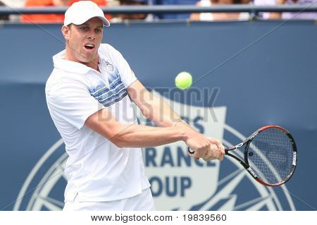 LOS ANGELES, CA. - AUGUST 1: Andy Murray of Great Britain and Sam Querrey of USA (pictured) play the final match at the 2010 Farmers Classic on August 1 2010 in Los Angeles.